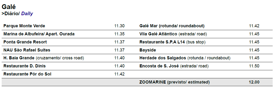 zoomarine Galé bus times and pickup points for Gale 2018