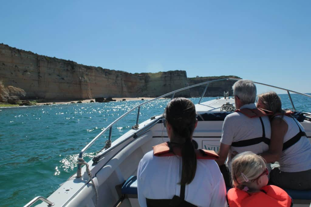 passengers on a boat during a boat trip along the coast of the Algarve