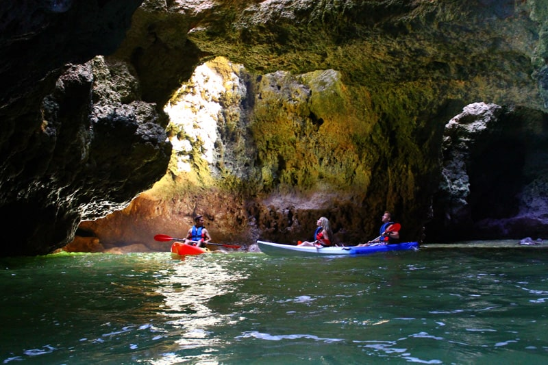 Kayaks inside the Cave