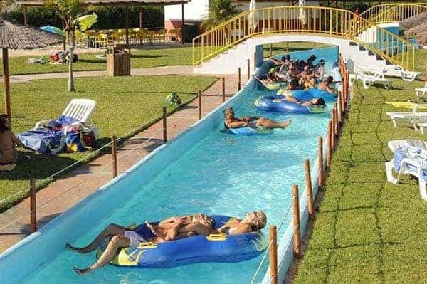 Visitors relaxing on the Aqualand lazy river