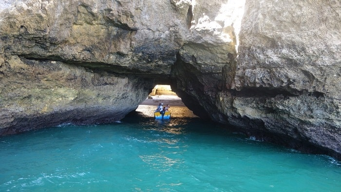 Small boat entering Captain Cave