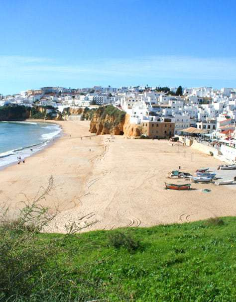 Fishermans Beach in Albufeira with some boats on the beach