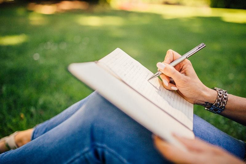 Writer working in the park