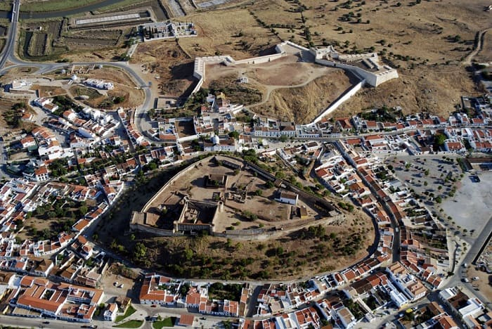 Castro Marim aerial view with castle on middle
