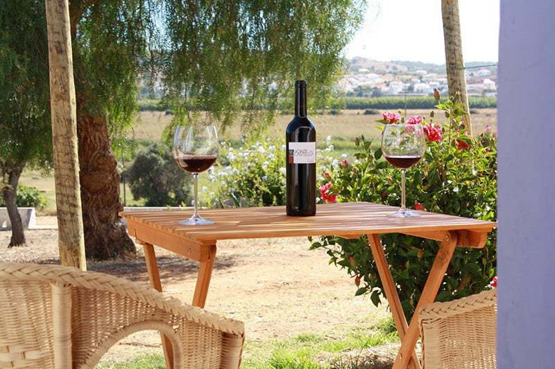 wooden table with 2 wine glasses and a botle in the center Monte Casteleja